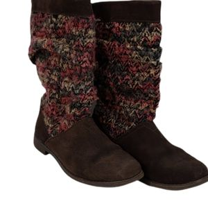 Toms Boots Suede Knit Brown and Multicoloured  Size 7.5
